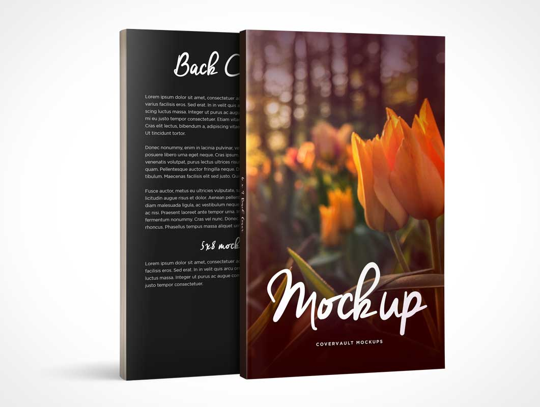 Standing Paperback Books Front & Back Covers PSD Mockup