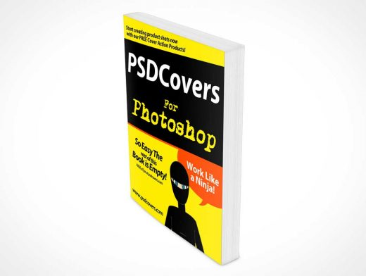 Standing Softcover Book Rotated Left PSD Mockup