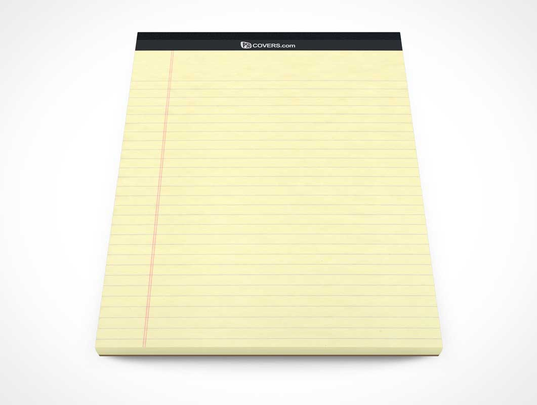 Stationery Pad Front Cover Page Above Shot PSD Mockup