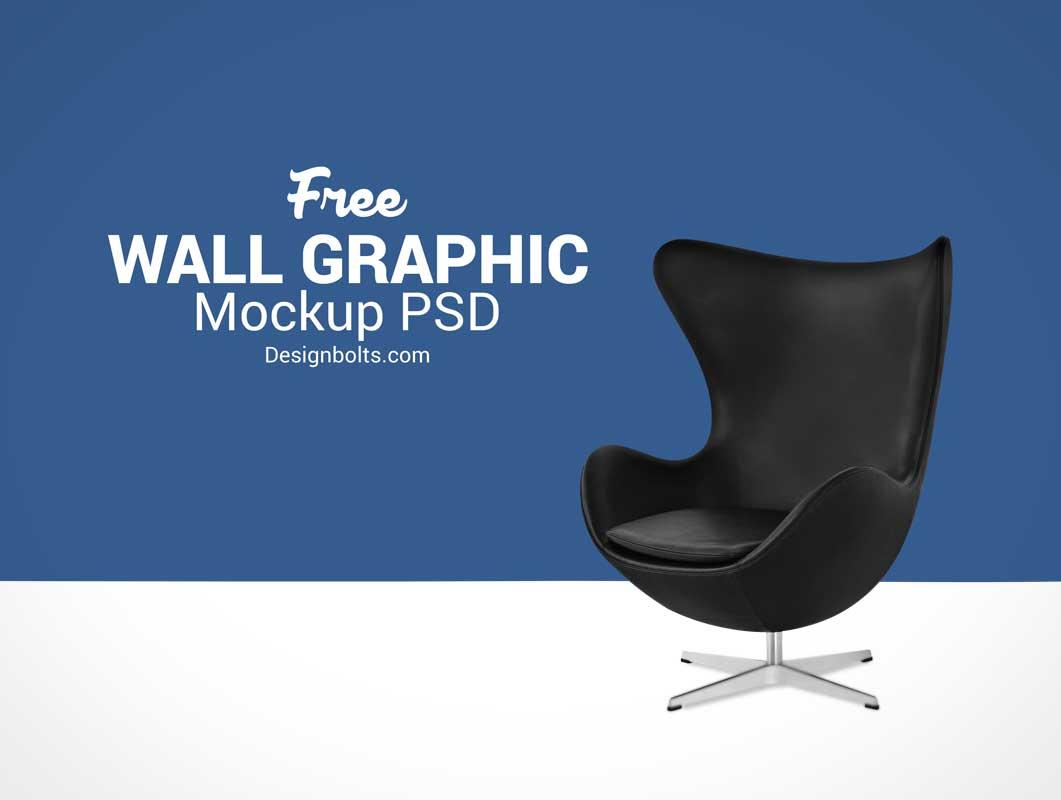 Wall Decal, Chair & Carpet Floor PSD Mockups