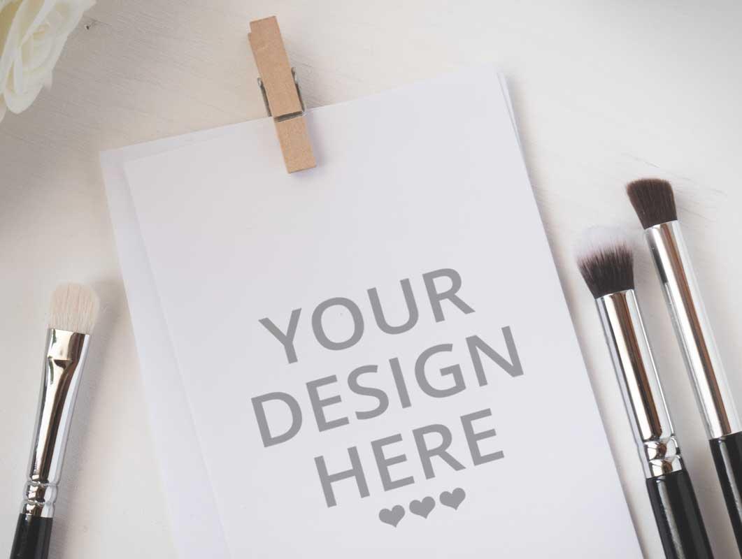 Watercolor Paper & Makeup Brushes PSD Mockup