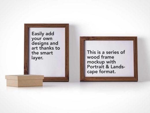 Wooden Photo Frames In Landscape & Portrait Mode PSD Mockup