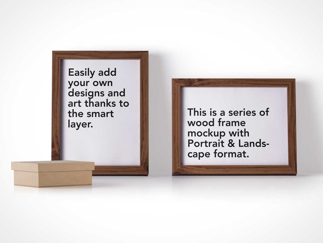 Wooden Photo Frames In Landscape & Portrait Mode PSD Mockup