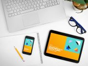 Workplace Laptop, Smartphone & Digital Tablet PSD Mockup