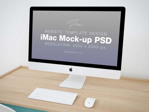 iMac Home Office Workspace PSD Mockup