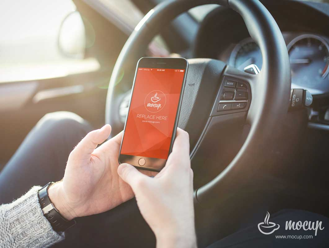 iPhone 7 Inside Vehicle Scene PSD Mockup