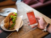 iPhone Bistro Workspace & Sandwich PSD Mockup