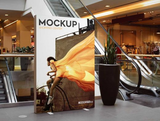 3 Indoor Shopping Mall Portrait Mode Billboards PSD Mockup