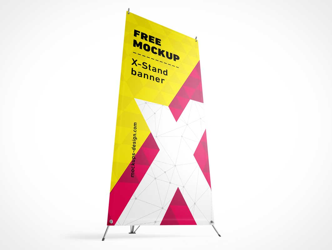 4 Tradeshow Fabric Banners & Display Stands PSD Mockup