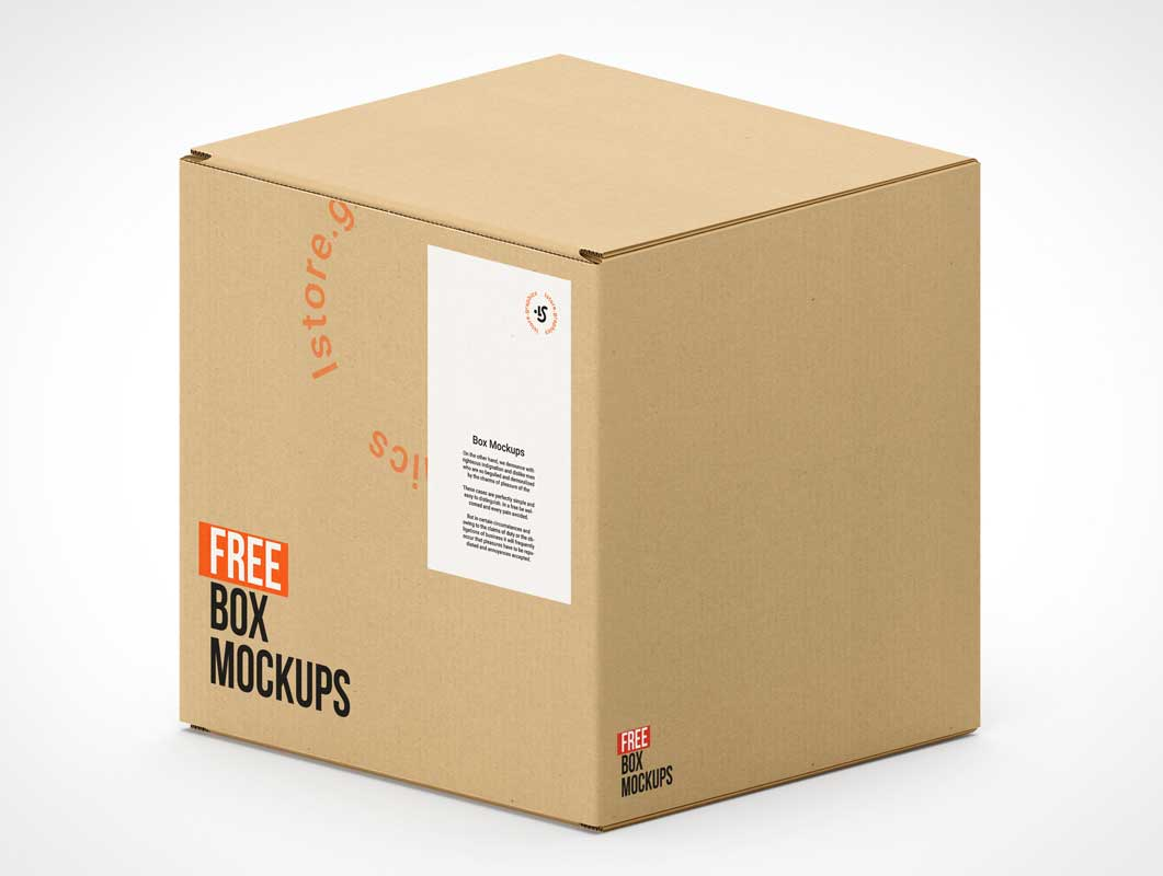 7 Corrugated Packaging Cardboard Shipping Boxes PSD Mockup