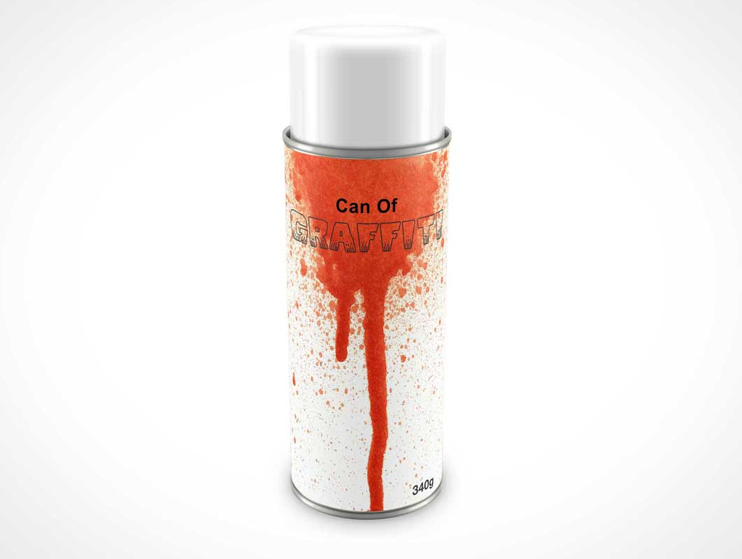 Aerosol Spray Paint Can & Cap PSD Mockup