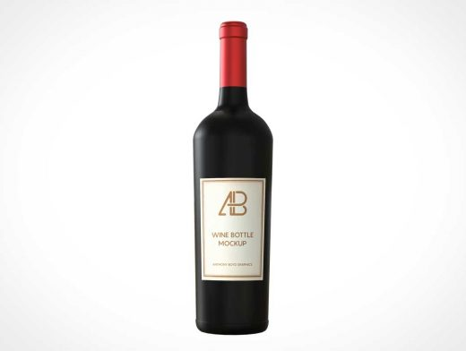 Bottle of Dark Wine Presentation PSD Mockup
