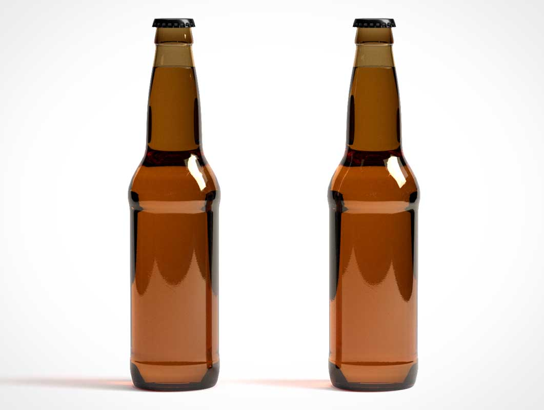 Brown Glass Beer Bottle & Brand Labels PSD Mockup