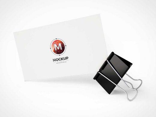 Business Card & Binder Clip Stand PSD Mockup