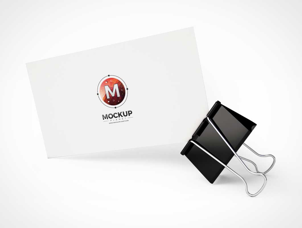business card binder clip stand psd mockup - Business Card Binder
