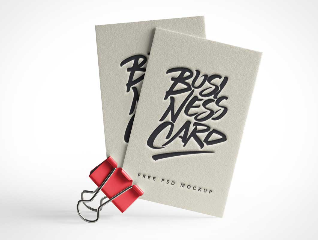 Business Card Pair & Binder Clip Stand PSD Mockup