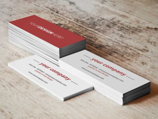 Business Card Stacks & Rotate Front Side Up PSD Mockup