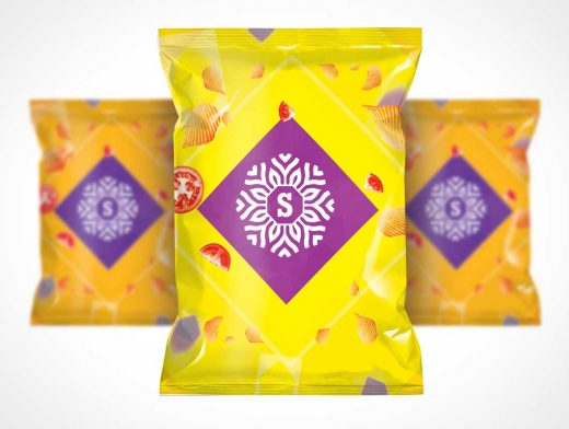 Chip Bag Front Cover Branding PSD Mockup