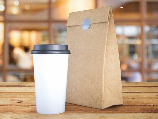Coffee Cup & Ground Bag Branding PSD Mockup