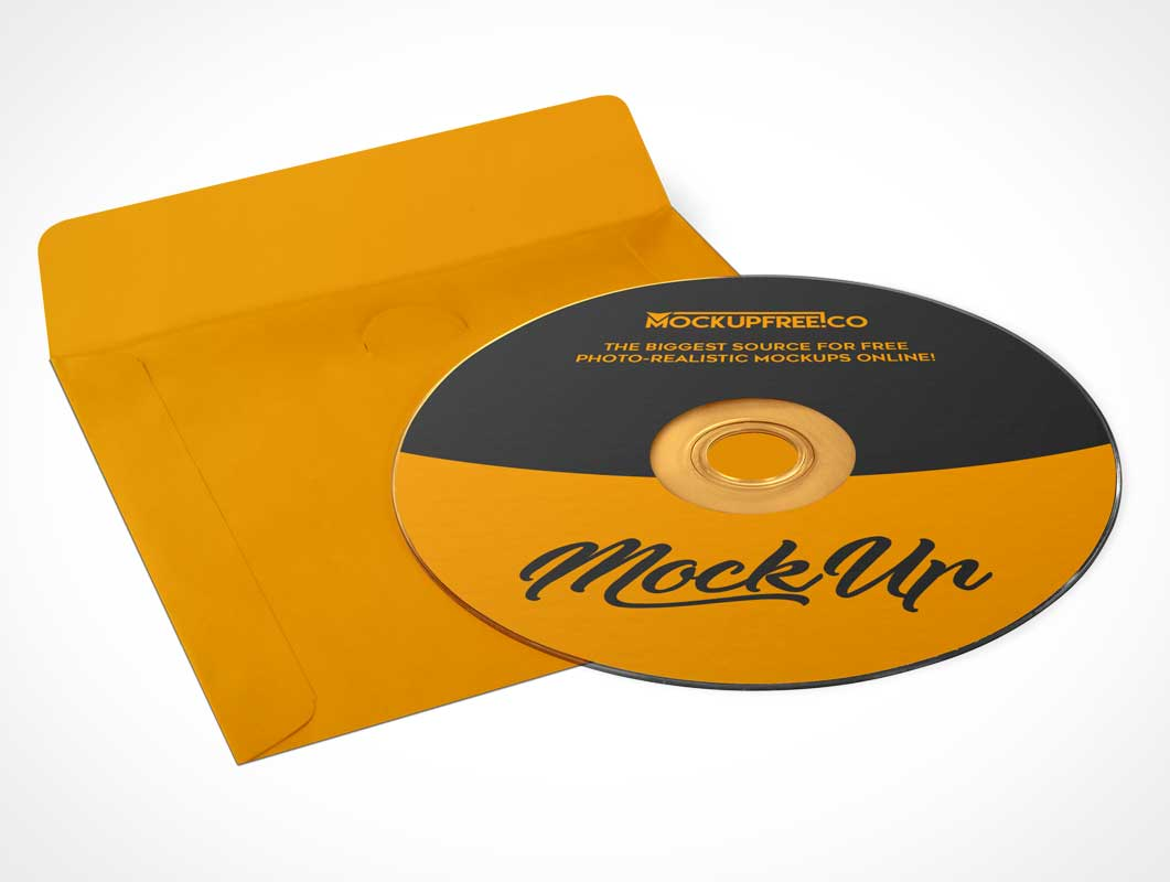 Compact Disc Front & Paper Sleeve Cover PSD Mockup