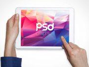 Female Hands Using iPad Tablet Landscape Orientation PSD Mockup