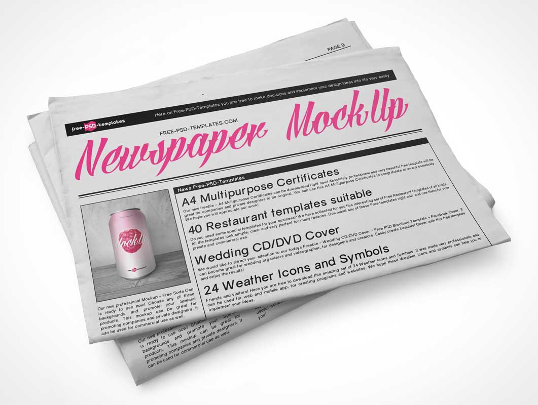 Folded Newspaper Sections Top View PSD Mockup