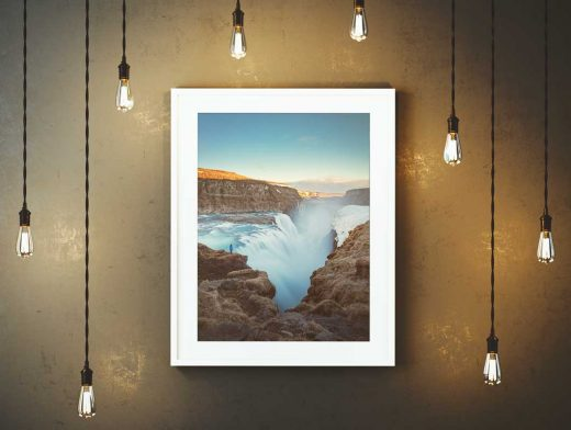 Framed Poster & Ceiling Hung Lights PSD Mockup