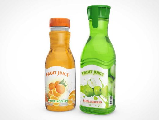 Fruit Juice Bottle Front Label Branding PSD Mockup