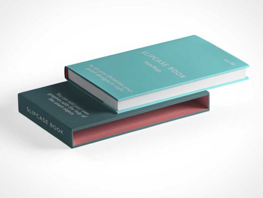 Hardcover Book & Slipcase Cover PSD Mockup