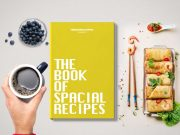 Hardcover Book Top View Dinner Scene PSD Mockup