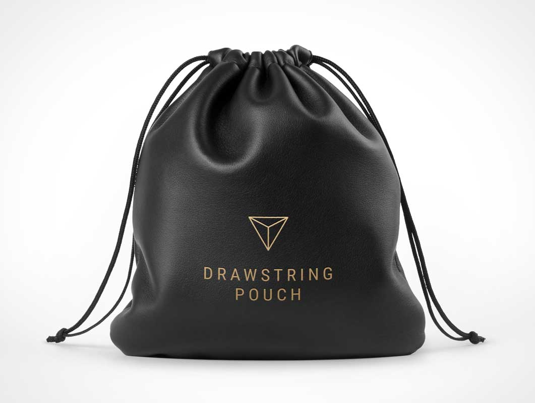 Leather Drawstring Pouch Bag Front PSD Mockup