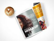 Magazine Pages Face Up & Rolled Cover PSD Mockup