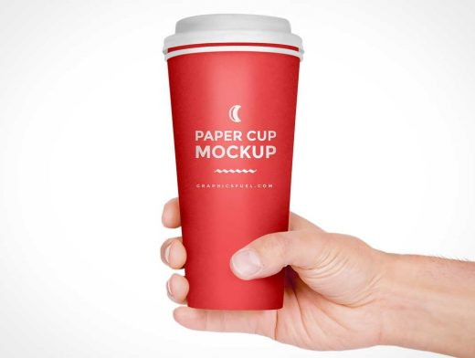 Man Holding Branded Paper Coffee Cup & Rim PSD Mockup
