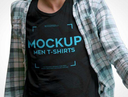 Men's Round-Collar T-Shirt Front PSD Mockup