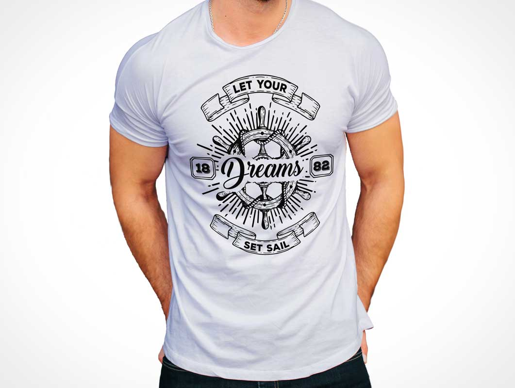 Men's Round Neck T-Shirt Clothing Front & Back PSD Mockup