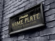 Outdoor Branded Plate Signage PSD Mockup