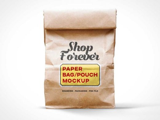 Paper Lunch Bag Folded Closed PSD Mockup