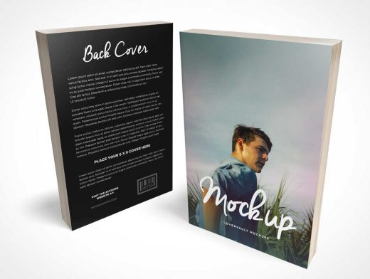 Paperback Book 6 x 9 C-Format Front & Back Covers PSD Mockup