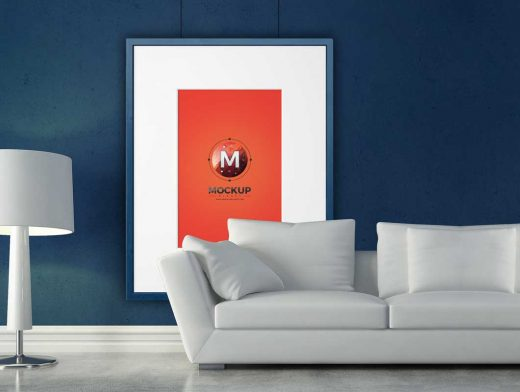Picture Frame Living Room Couch & Lamp Scene PSD Mockup