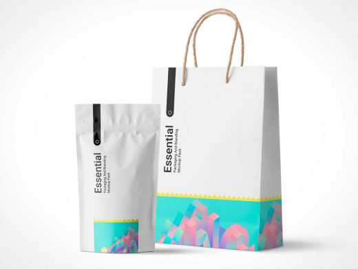 Sealed Pouch & Paper Shopping Bag PSD Mockup