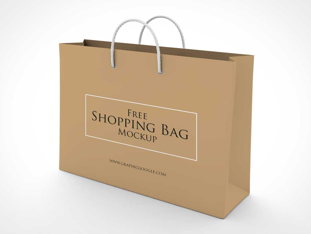 Shopping Bag & Carry Handles Store Branding PSD Mockup