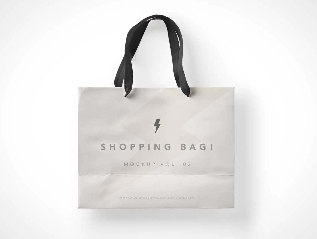 Shopping Bag Side View & Cloth Carry Handles PSD Mockup