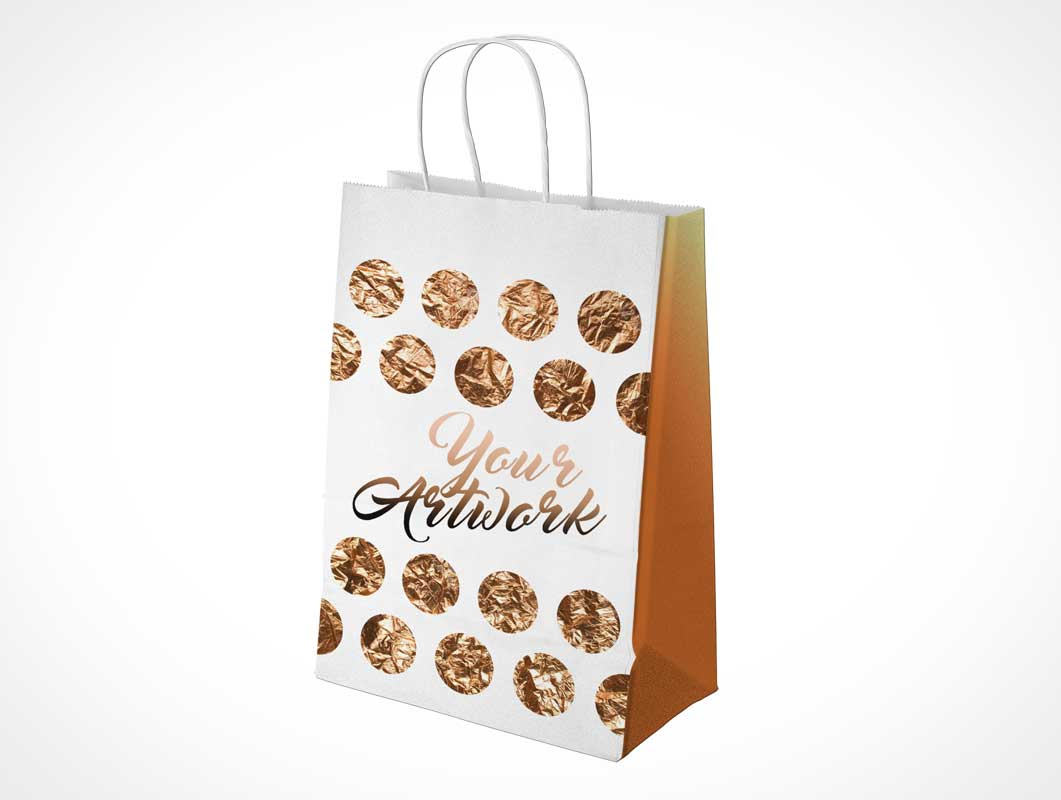 Small Shopping Paper Bag Front & Side PSD Mockup