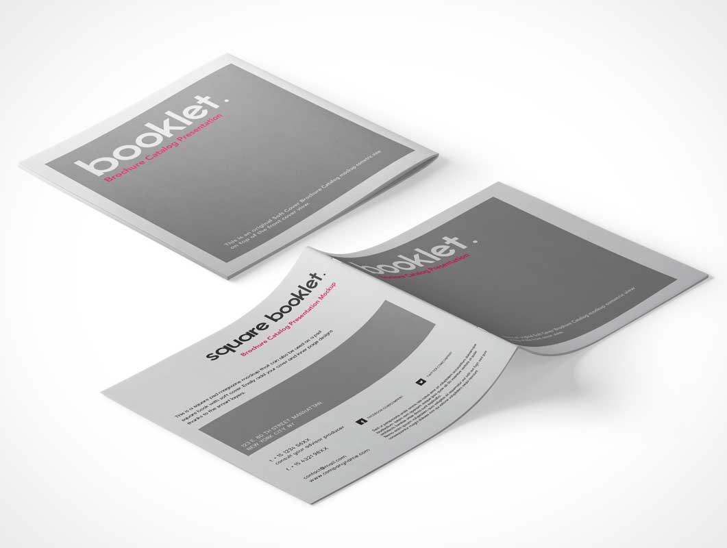 Square Brochure Pamphlet Front & Back Covers PSD Mockup