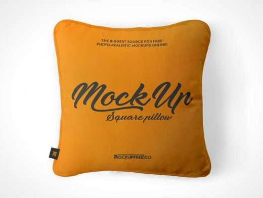 Square Throw Pillow Front & Side View PSD Mockup