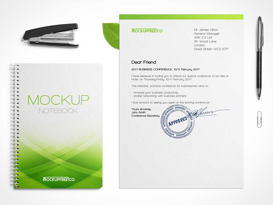 Stationery Spiral Notebook, Stapler, Pen & Corporate Letterhead PSD Mockup