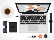 Stationery & Workspace Flat Design Top View PSD Mockup