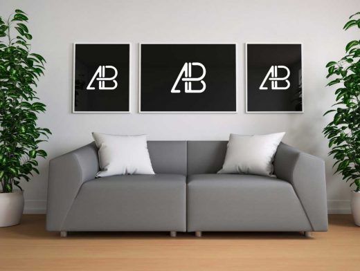 Triple Framed Poster Living Room & Couch PSD Mockup