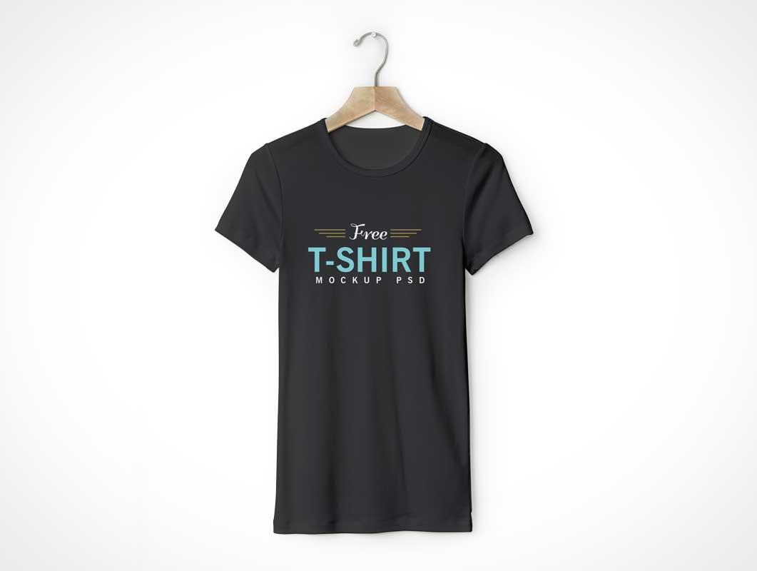 Unisex Round Neck T-Shirt Front On Hanger PSD Mockup