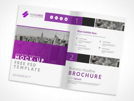 US Letter Sized Brochure Inside Left & Right Pages PSD Mockup